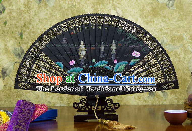 Traditional Chinese Handmade Crafts Ebomy Folding Fan, China Classical Hand Painting West Lake Lotus Sensu Hollow Out Fan Hanfu Fans for Women