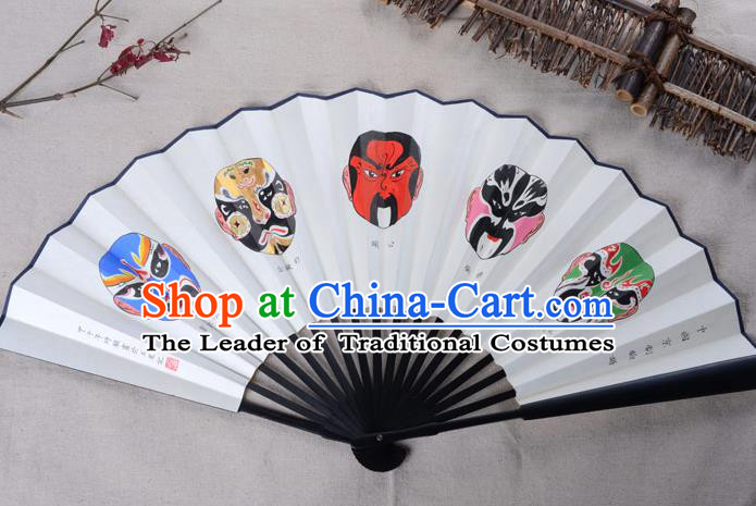 Traditional Chinese Handmade Crafts Xuan Paper Folding Fan, China Classical Art Paper Sensu Hand Painting Beijing Opera Facial Masks Fan Hanfu Fans for Men