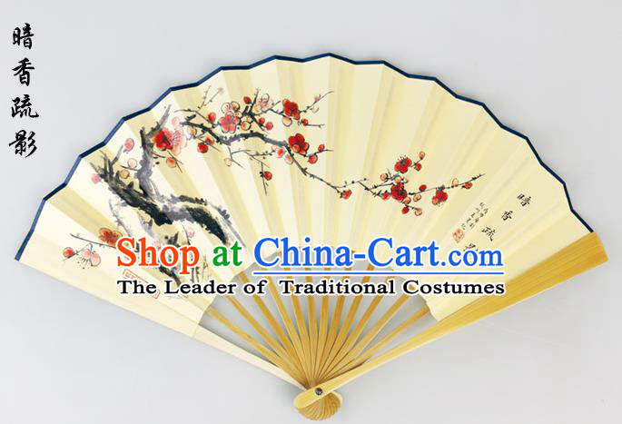 Traditional Chinese Handmade Crafts Pure Silk Folding Fan, China Classical Sensu Ink Painting Wintersweet Fan Hanfu Fans for Men