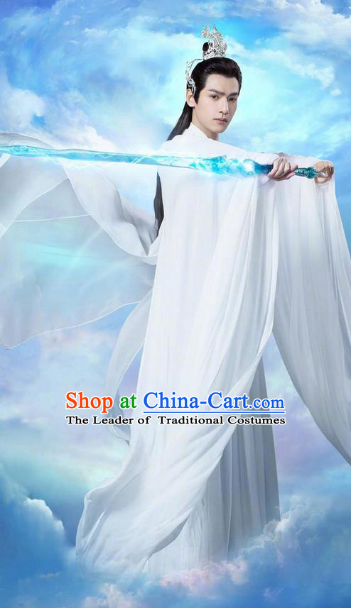 Traditional Ancient Chinese Kawaler Robe Clothing, Chinese Ancient Han Dynasty Swordsman Costume and Headpiece Complete Set