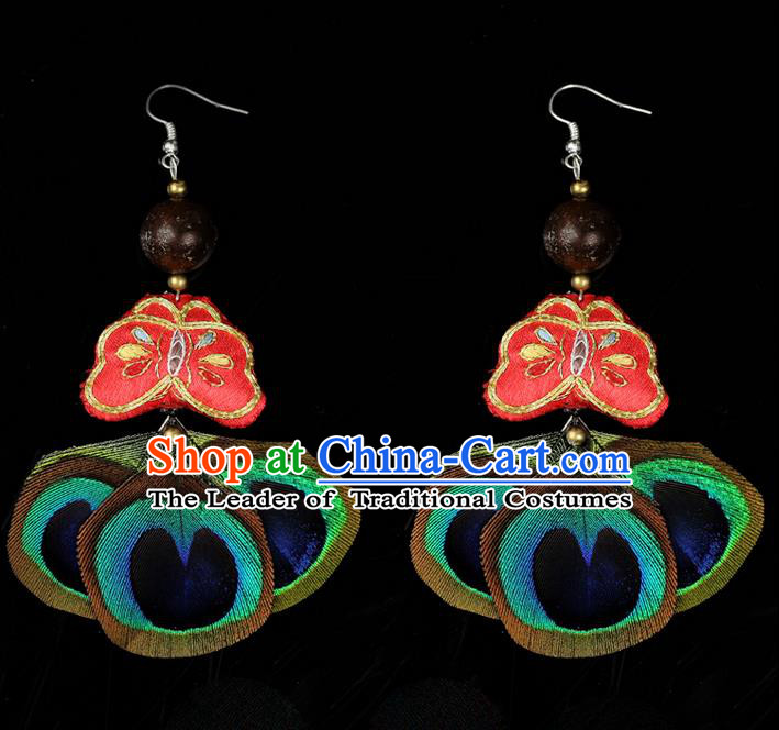Traditional Chinese Accessories National Embroidery Butterfly Earrings, China Peacock Tassel Red Eardrop for Women