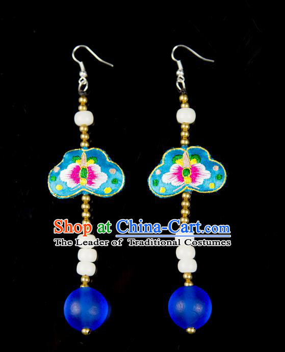 Traditional Chinese Accessories National Embroidery Earrings, China Beads Tassel Blue Eardrop for Women
