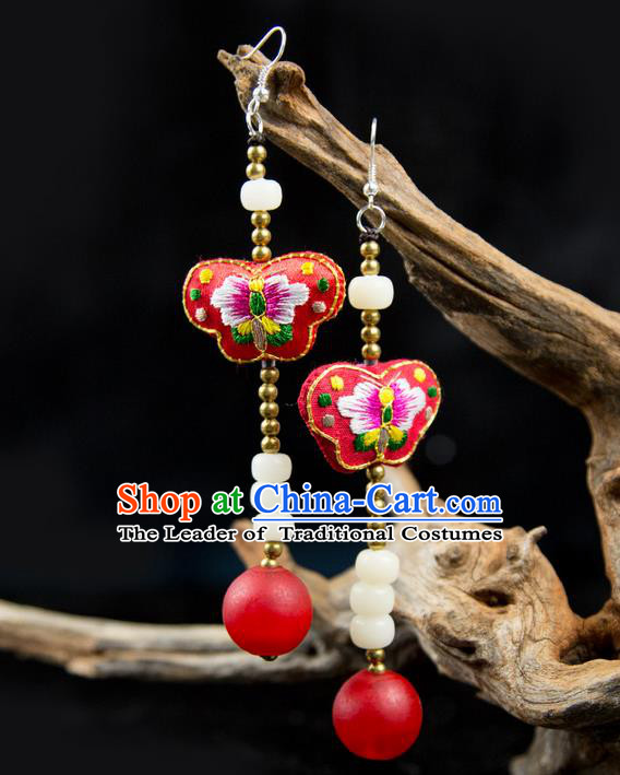 Traditional Chinese Accessories National Embroidery Earrings, China Beads Tassel Red Eardrop for Women