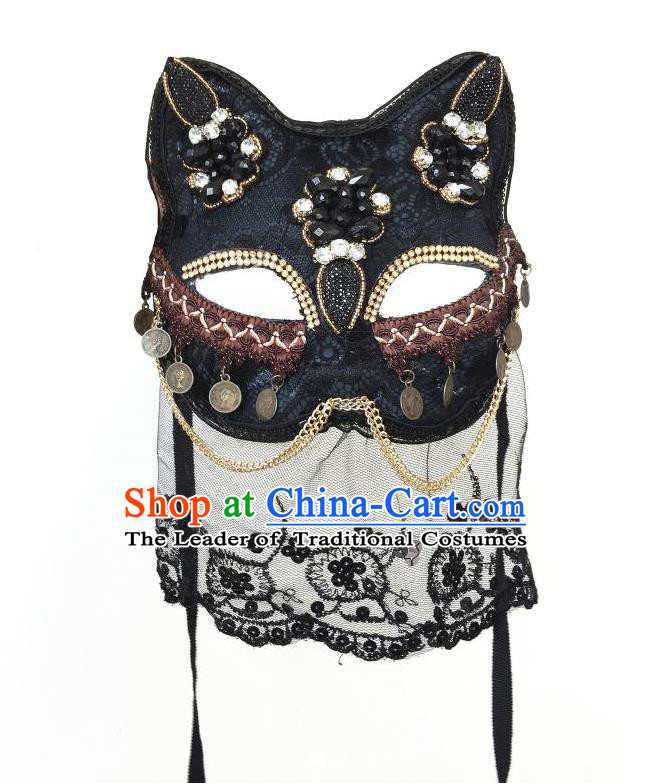 Top Grade Halloween Masquerade Accessories Crystal Mask, Brazilian Carnival Fox Mask Veil for Women