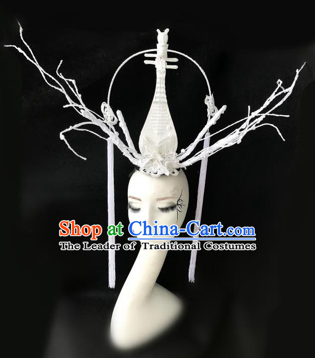 Top Grade Chinese Traditional Halloween Hair Accessories, China Style Cosplay White Lute Headwear Catwalks Headpiece for Women