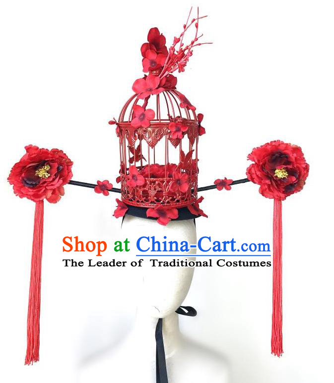 Top Grade Chinese Traditional Halloween Red Peony Hair Accessories, China Style Cosplay Birdcage Headwear Catwalks Headpiece for Women