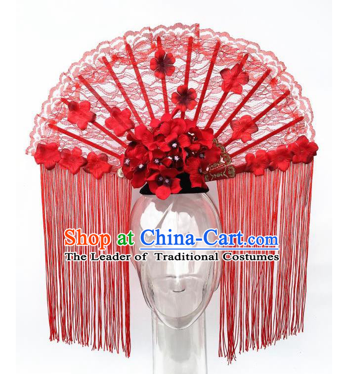 Top Grade Chinese Asian Headpiece Headpieces Model Show Red Tassel Headdress, Ceremonial Occasions Handmade Traditional Ornamental Flowers Floral Headdress for Women