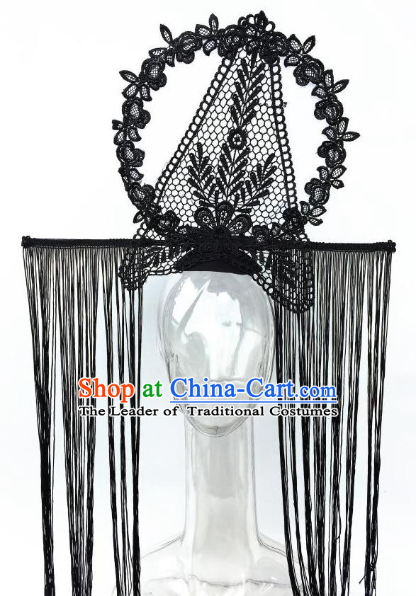 Top Grade Chinese Asian Headpiece Headpieces Model Show Black Tassel Headdress, Ceremonial Occasions Handmade Traditional Ornamental Flowers Floral Headdress for Women