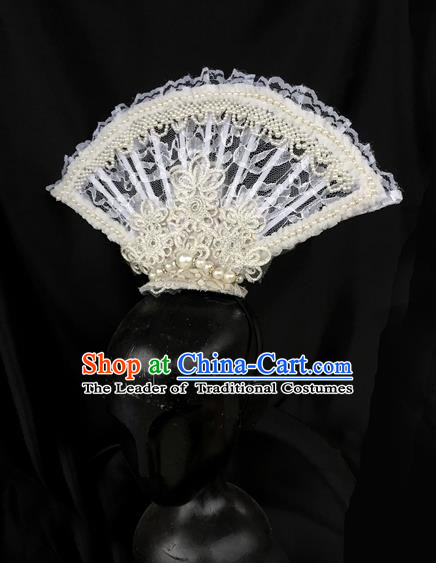 Top Grade Chinese Theatrical Luxury Headdress Ornamental White Lace Hair Clasp, Halloween Fancy Ball Asian Headpiece Headpieces Model Show Headwear for Women