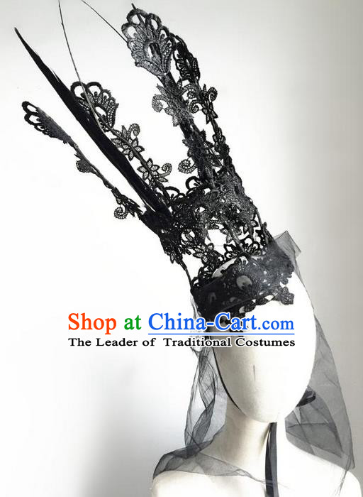Top Grade Chinese Theatrical Luxury Headdress Ornamental Black Royal Crown, Halloween Fancy Ball Asian Headpieces Model Show Lace Headwear for Women