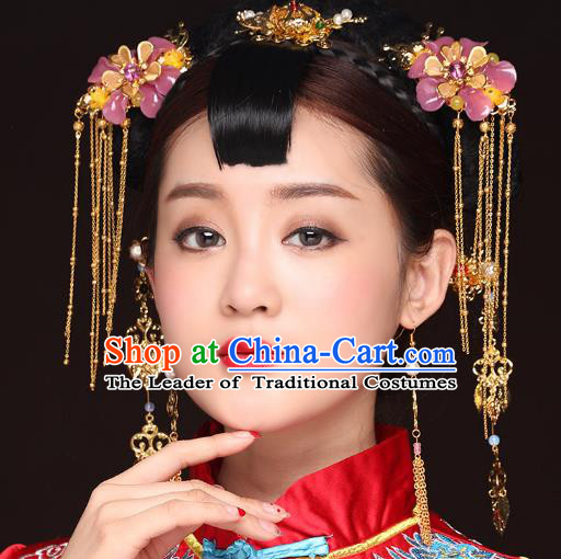 Traditional Handmade Chinese Ancient Classical Hair Accessories Bride Wedding Tassel Pink Flower Hair Comb, Xiuhe Suit Hair Jewellery Hair Fascinators Hairpins for Women