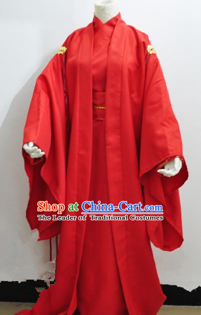 Chinese Ancient Cosplay Wedding Costumes, Chinese Traditional Embroidered Clothing Chinese Cosplay Swordsman Knight Costume for Men
