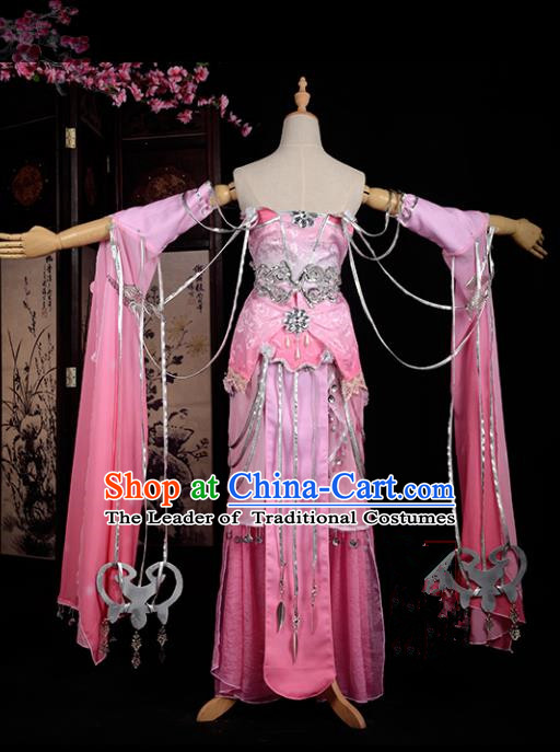 Chinese Ancient Cosplay Han Dynasty Young Lady Water Sleeve Costumes, Chinese Traditional Pink Dress Clothing Chinese Cosplay Swordsman Costume for Women