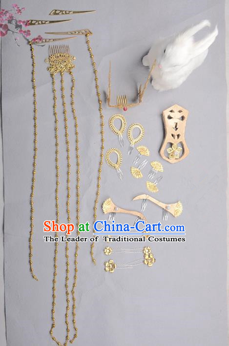 Traditional Handmade Chinese Ancient Classical Hair Accessories Bride Wedding Tassel Hair Comb, Xiuhe Suit Hair Jewellery Hair Fascinators Hairpins for Women