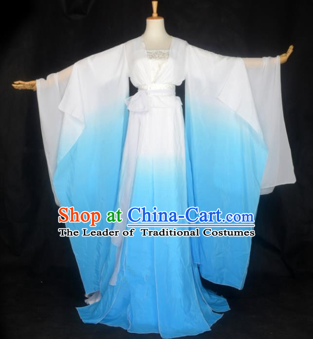Chinese Ancient Cosplay Tang Dynasty Palace Lady Costumes, Chinese Traditional Blue Hanfu Dress Clothing Chinese Cosplay Imperial Princess Costume for Women