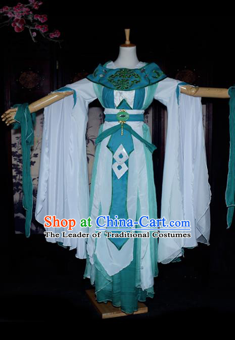 Chinese Ancient Cosplay Tang Dynasty Chivalrous Lady Clothing, Chinese Traditional Green Hanfu Dress Chinese Cosplay Swordswoman Costume for Women