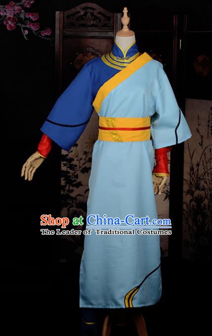 Chinese Ancient Cosplay Tang Dynasty Swordsman Costumes, Chinese Traditional Blue Clothing Chinese Cosplay Knight Costume for Men