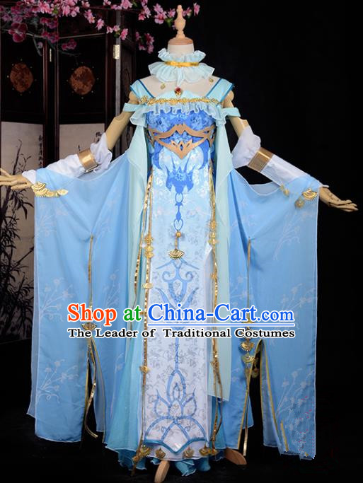Chinese Ancient Cosplay Han Dynasty Fairy Costumes, Chinese Traditional Blue Embroidery Hanfu Dress Clothing Chinese Cosplay Princess Costume for Women