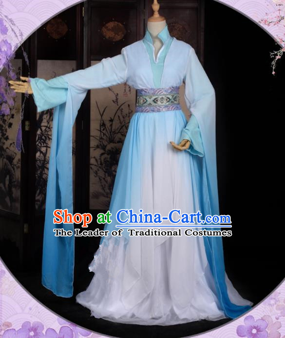 Chinese Ancient Cosplay Han Dynasty Fairy Costumes, Chinese Traditional Blue Hanfu Dress Clothing Chinese Cosplay Princess Costume for Women