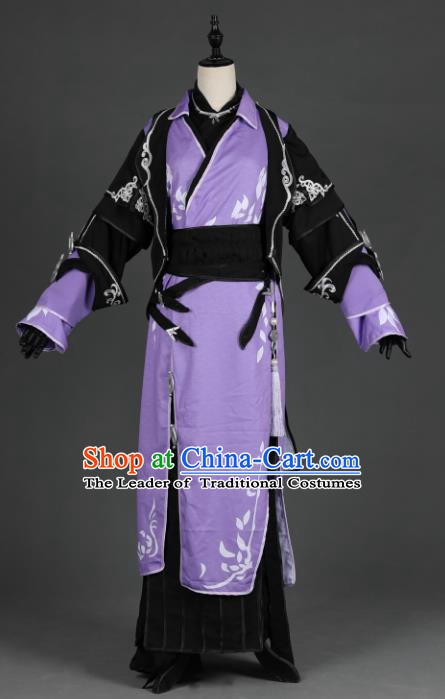 Chinese Ancient Cosplay Han Dynasty Prince Costumes, Chinese Traditional Embroidery Purple Hanfu Dress Clothing Chinese Swordsman Costume for Men