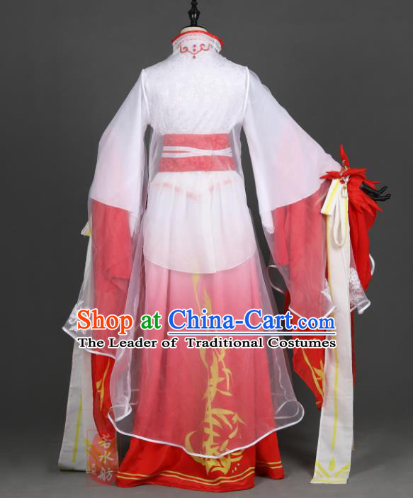 Chinese Ancient Cosplay Han Dynasty Princess Wedding Costumes, Chinese Traditional Embroidery Red Hanfu Dress Clothing Chinese Swordswoman Costume for Women