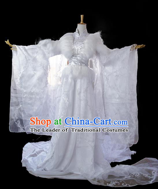 Chinese Ancient Cosplay Tang Dynasty Imperial Princess Costumes, Chinese Traditional Hanfu White Dress Clothing Chinese Palace Lady Costume for Women