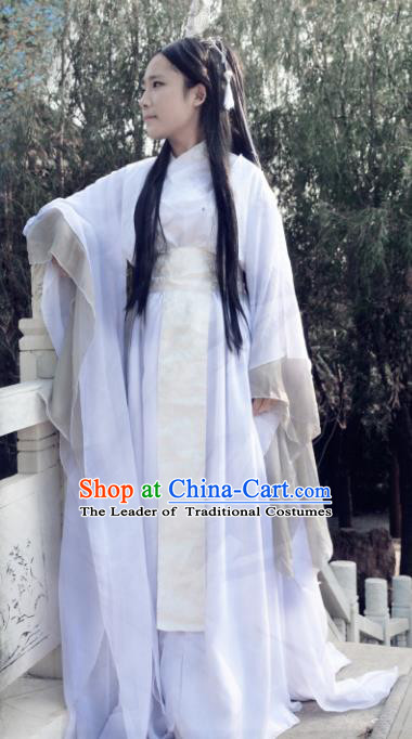 Chinese Ancient Cosplay Han Dynasty Imperial Princess Fairy Costumes, Chinese Traditional Hanfu White Dress Clothing Chinese Palace Lady Dance Costume for Women