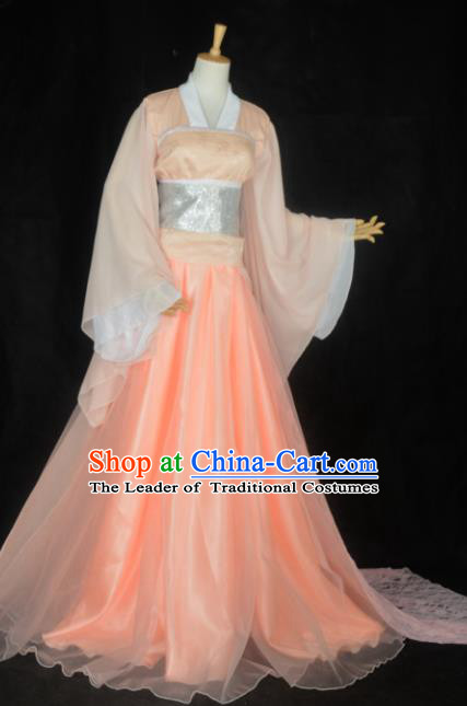 Chinese Ancient Cosplay Song Dynasty Imperial Princess Fairy Costumes, Chinese Traditional Hanfu Pink Dress Clothing Chinese Palace Lady Dance Costume for Women
