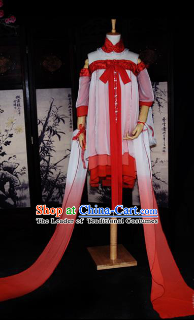 Chinese Ancient Cosplay Tang Dynasty Dunhuang Flying Apsaras Dance Dress, Chinese Traditional Hanfu Clothing Chinese Fairy Costume for Women