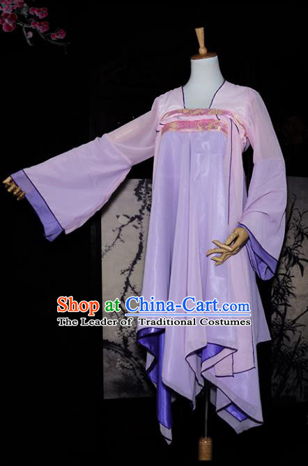 Chinese Ancient Cosplay Tang Dynasty Dunhuang Flying Apsaras Dance Purple Dress, Chinese Traditional Hanfu Clothing Chinese Fairy Costume for Women