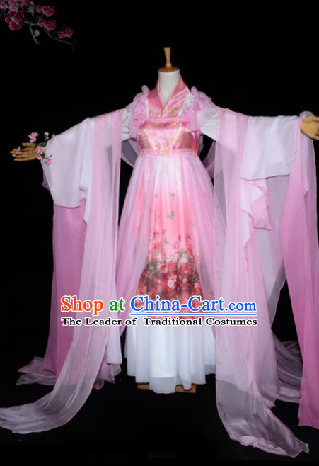 Chinese Ancient Cosplay Tang Dynasty Princess Dance Pink Dress, Chinese Traditional Hanfu Clothing Chinese Fairy Palace Lady Costume for Women