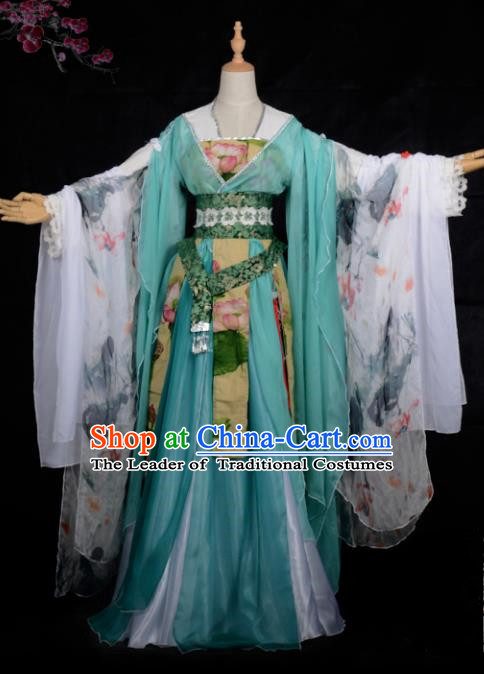 Chinese Ancient Cosplay Tang Dynasty Princess Dance Green Dress, Chinese Traditional Hanfu Clothing Chinese Fairy Palace Lady Costume for Women