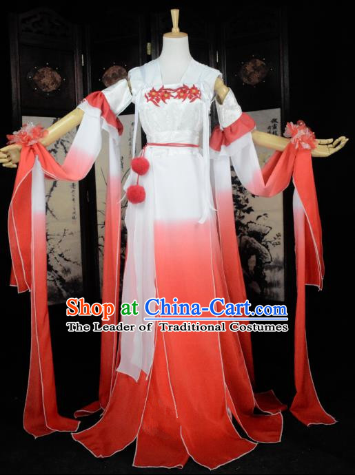 Chinese Ancient Cosplay Tang Dynasty Princess Fairy Costumes, Chinese Traditional Hanfu Red Dress Clothing Chinese Palace Lady Dance Costume for Women
