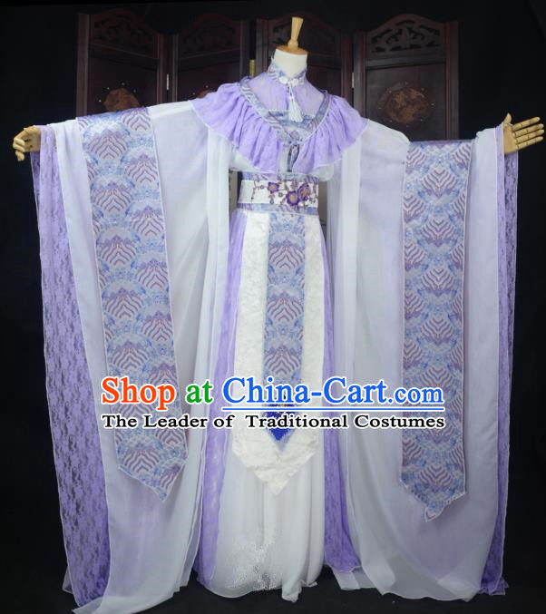 Chinese Ancient Cosplay Tang Dynasty Princess Fairy Lilac Dress, Chinese Traditional Hanfu Clothing Chinese Palace Lady Dance Costume for Women