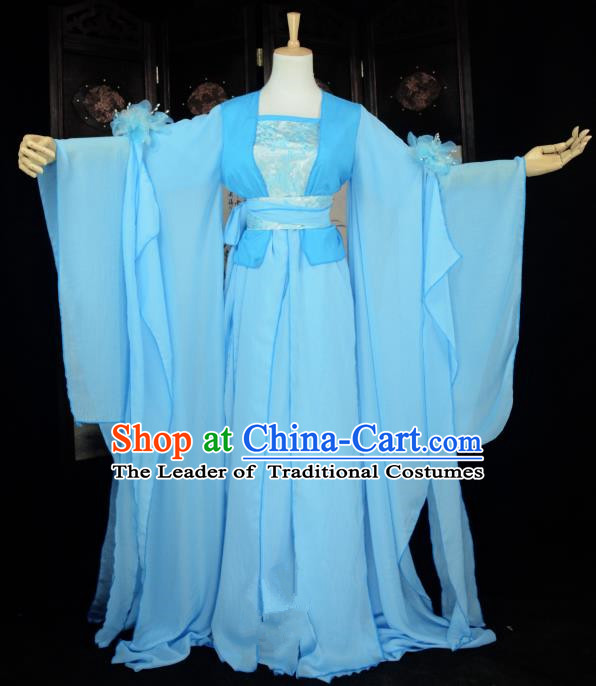 Chinese Ancient Cosplay Han Dynasty Princess Fairy Blue Dress, Chinese Traditional Hanfu Clothing Chinese Palace Lady Dance Costume for Women