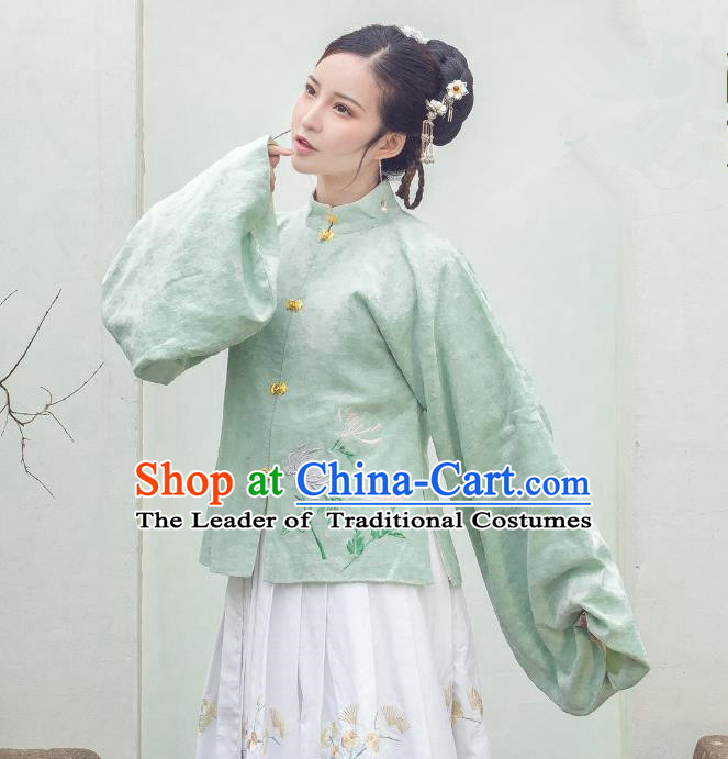 Traditional Ancient Chinese Ming Dynasty Imperial Concubine Costume Embroidery Plated Button Blouse, Chinese Palace Lady Sleeve Placket Upper Outer Garment for Women
