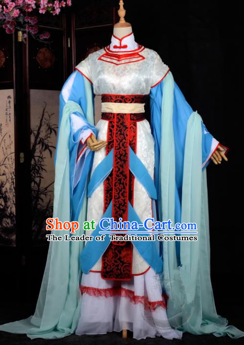 Chinese Ancient Cosplay Tang Dynasty Princess Embroidery Blue Dress, Chinese Traditional Hanfu Clothing Chinese Fairy Costume for Women