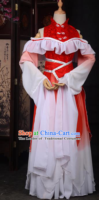 Chinese Ancient Cosplay Tang Dynasty Palace Lady Embroidery Water Sleeve Dress, Chinese Traditional Hanfu Clothing Chinese Princess Fairy Costume for Women