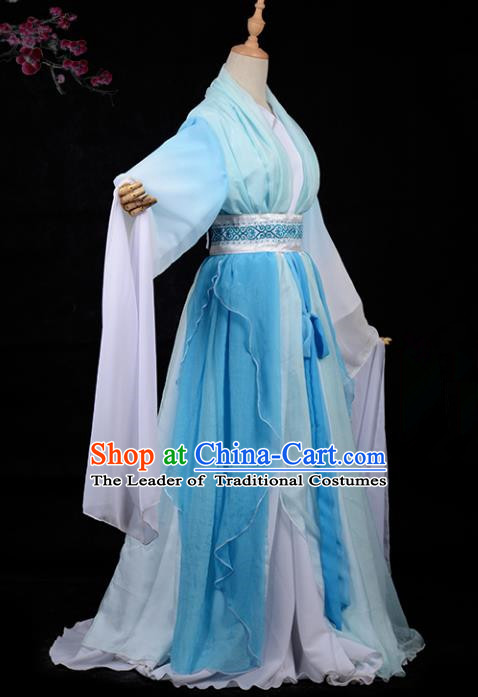 Chinese Ancient Cosplay Tang Dynasty Palace Lady Embroidery Blue Water Sleeve Dress, Chinese Traditional Hanfu Clothing Chinese Princess Fairy Costume for Women