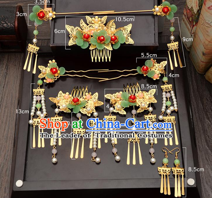 Traditional Handmade Chinese Ancient Classical Hair Accessories Xiuhe Suit White Beads Hairpin, Step Shake Hair Sticks Hair Jewellery, Hair Fascinators Hairpins for Women