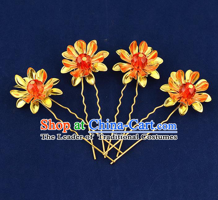 Traditional Handmade Chinese Ancient Classical Hair Accessories Xiuhe Suit Flower Hairpin Hair Comb, Hair Sticks Hair Jewellery Hair Fascinators for Women