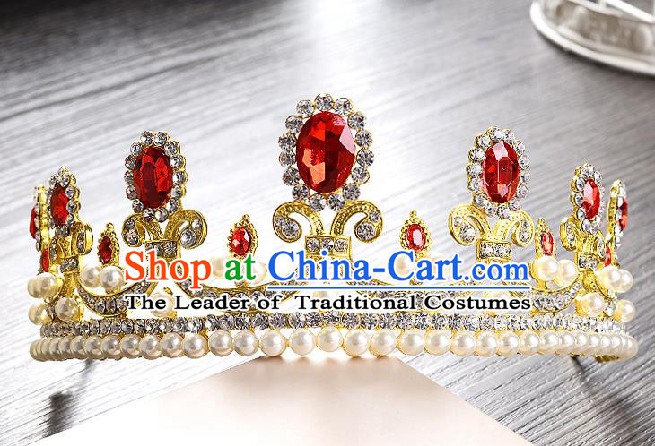 Top Grade Handmade Chinese Classical Hair Accessories Baroque Style Headband Red Crystal Princess Royal Crown, Hair Sticks Hair Jewellery Hair Clasp for Women