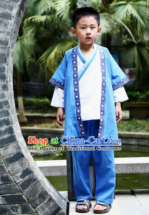 Traditional Chinese Han Dynasty Children Hanfu Martial Arts Costume, China Ancient Scholar Blue Clothing for Kids