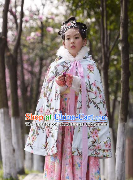 Traditional Chinese Han Dynasty Children Hanfu Costume Cloak, China Ancient Embroidery Cape Clothing for Kids