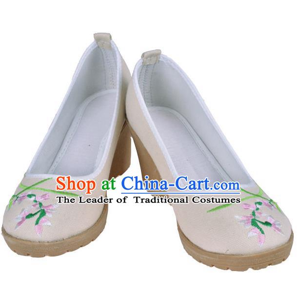 Traditional Chinese Ancient Wedding Cloth Shoes, China Princess Linen Shoes Hanfu Handmade Embroidery Shoe for Women