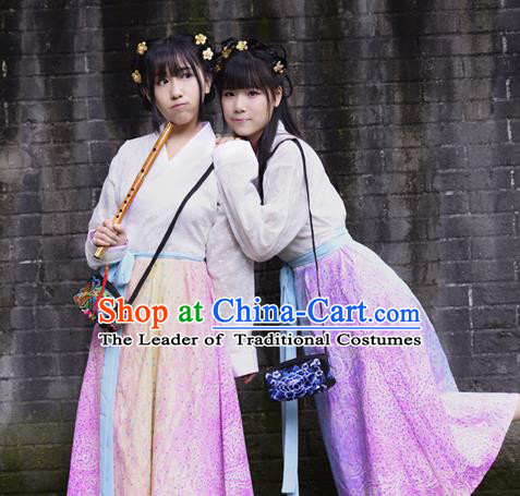 Traditional Chinese Han Dynasty Young Lady Costume, China Ancient Hanfu Rainbow Dress Princess Clothing for Women