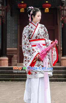 Traditional Chinese Han Dynasty Palace Princess Costume, China Ancient Hanfu Dress Imperial Concubine Embroidery Clothing for Women