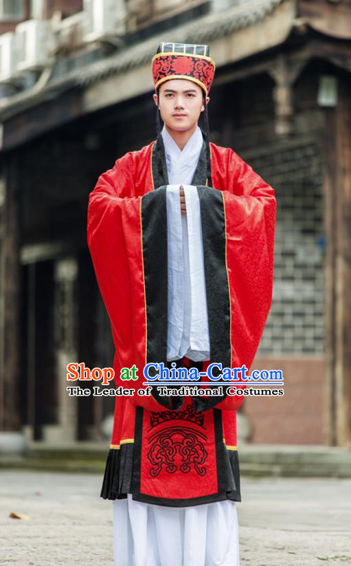 Traditional Chinese Tang Dynasty Hanfu Wedding Costume Long Robe, China Ancient Palace Prince Bridegroom Clothing for Men