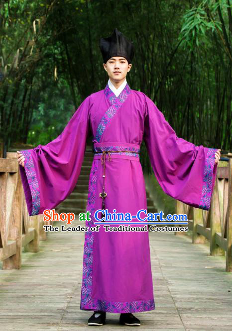 Traditional Chinese Han Dynasty Nobility Childe Hanfu Costume Long Robe, China Ancient Scholar Clothing for Men