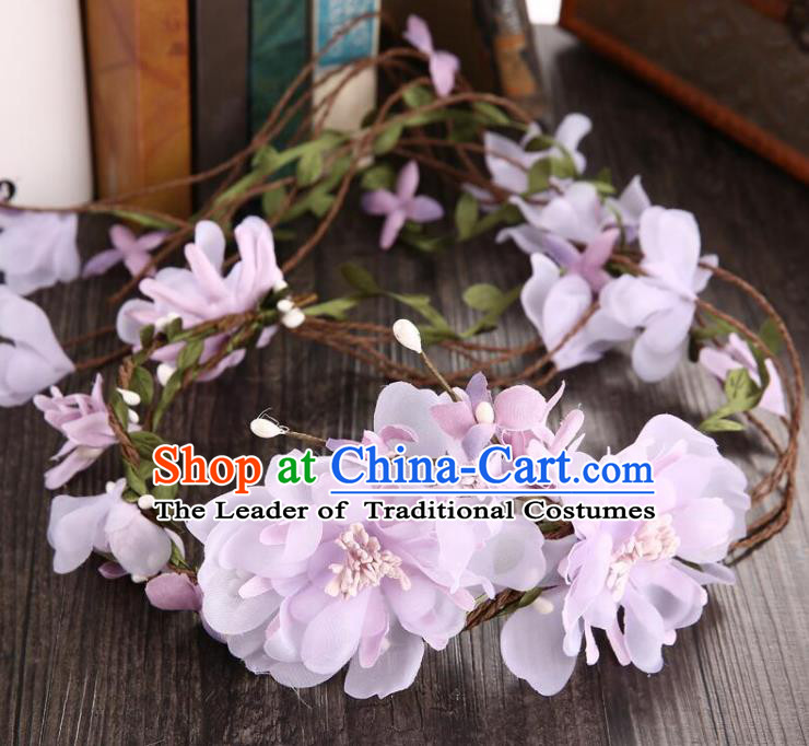 Top Grade Handmade Chinese Classical Hair Accessories Baroque Style Pink Flowers Garland, Bride Hair Sticks Hair Clasp for Women